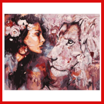 Gifts Actually - Paint By Numbers - Woman and Lion (DIY Paint kit)