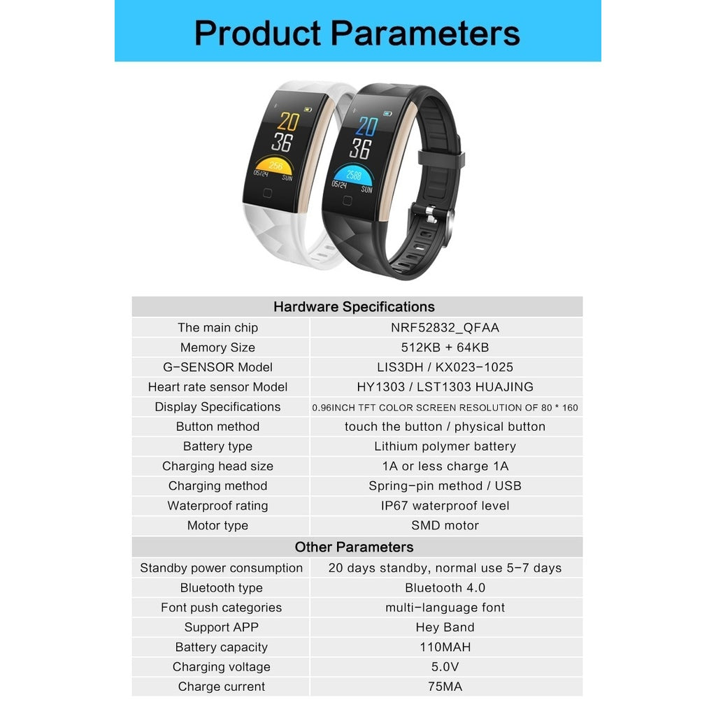 Gifts Actually - Watch - T20 Smart Watch - Bluetooth - Sports Tracking -Iphone/Android - Product Parameters