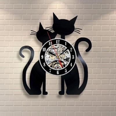 Gifts Actually - Wall Clock - laser cut vinyl record (Snuggling Cats)