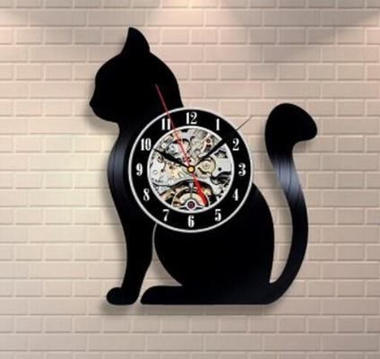Gifts Actually - Wall Clock - laser cut vinyl record (Cat)