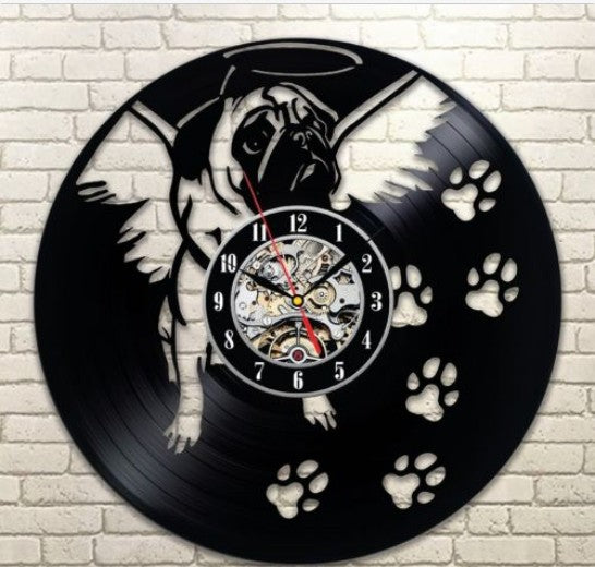 Wall Clock -Dog Memorial Clock -  Laser cut vinyl record clock