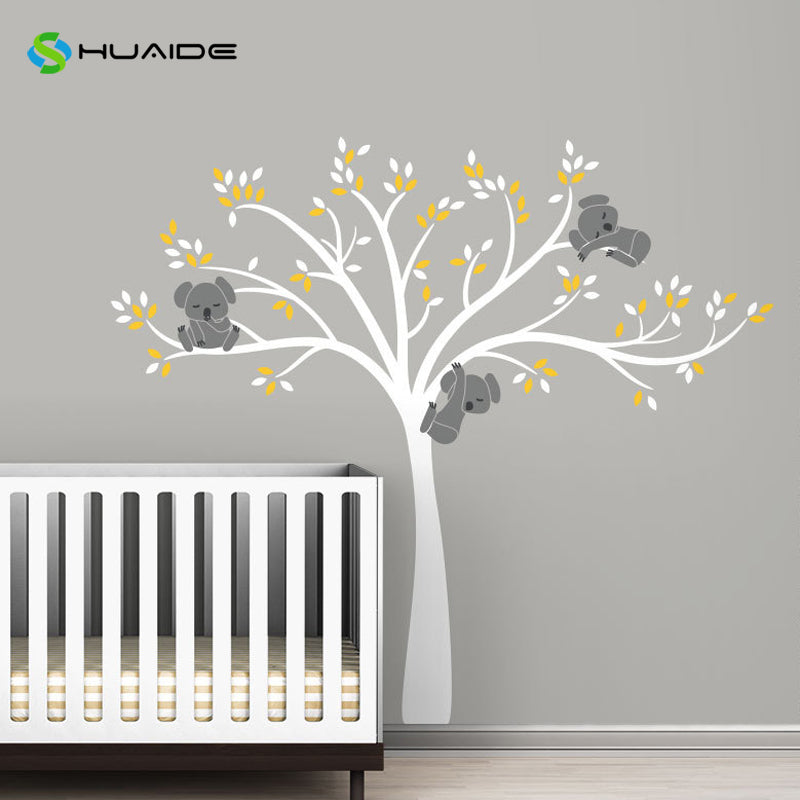 Wall decal / Sticker - Koala Tree branches - White / D Grey