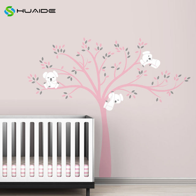 Wall decal / Sticker - Koala Tree branches - Pink / White