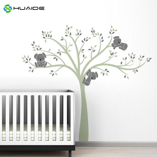 Wall decal / Sticker - Koala Tree branches - Green / D Grey