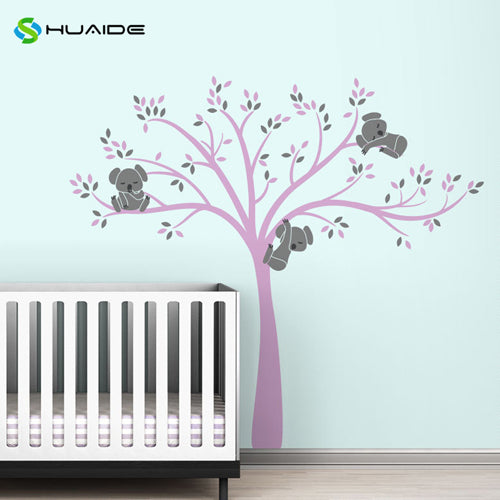 Wall decal / Sticker - Koala Tree branches - D Pink / D Grey