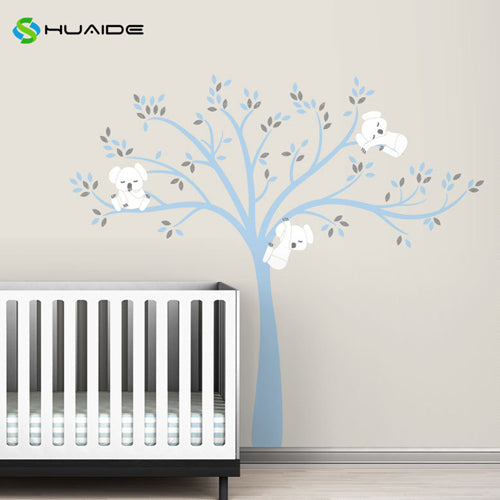 Wall decal / Sticker - Koala Tree branches - Blue / White