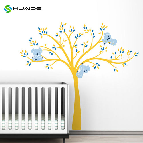 Wall decal / Sticker - Koala Tree branches - Yellow / Blue