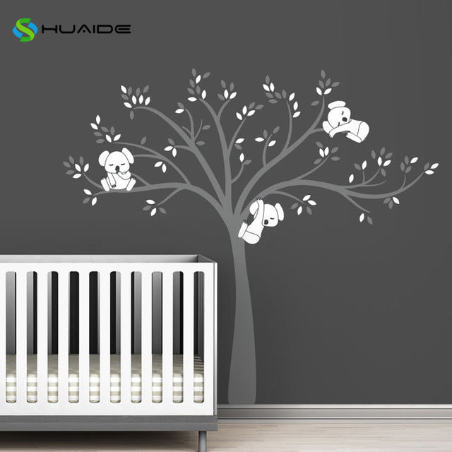 Wall decal / Sticker - Koala Tree branches - D Grey / White
