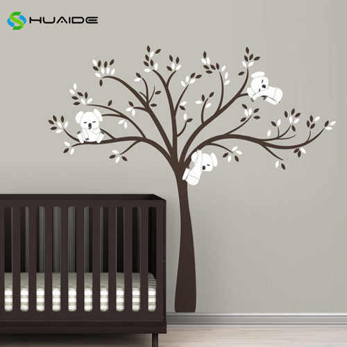 Wall decal / Sticker - Koala Tree branches - D Brown / White