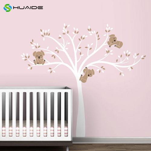 Wall decal / Sticker - Koala Tree branches - White / L Brown