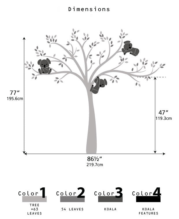 Wall decal / Sticker - Koala Tree branches - Dimenssions