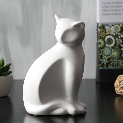 Gifts Actually - Ceramic and enamel Cat Statues - White