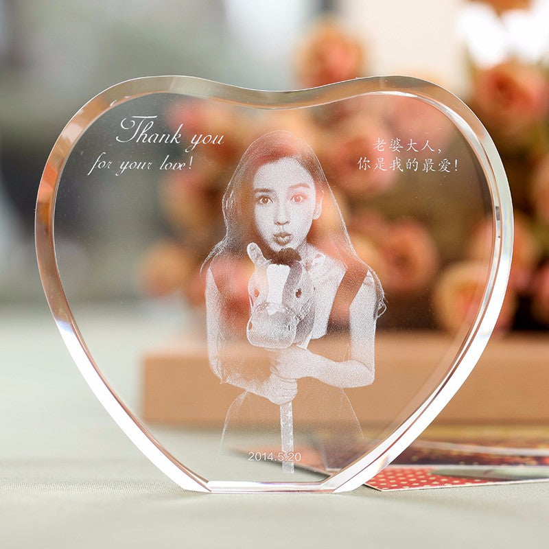 Gifts Actually - Personalised Digital Image Crystal Photo Frame - Heart Shape - Main  Image