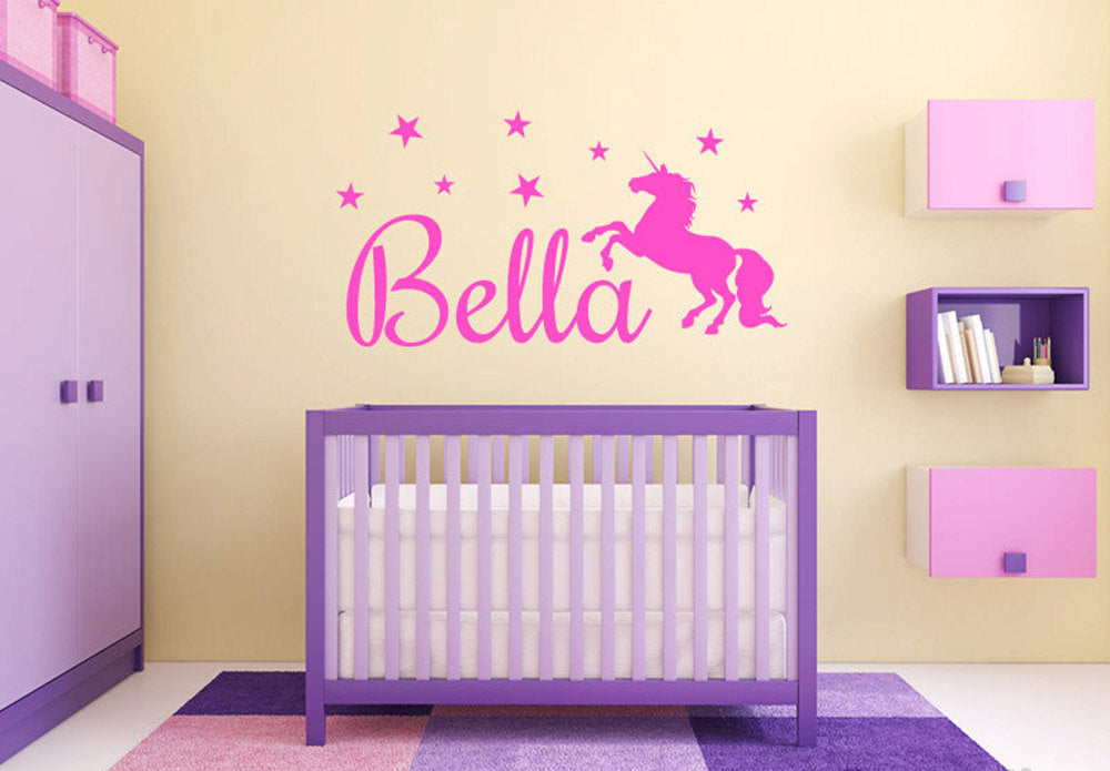 Wall Decal / Sticker - Unicorn and personalised name
