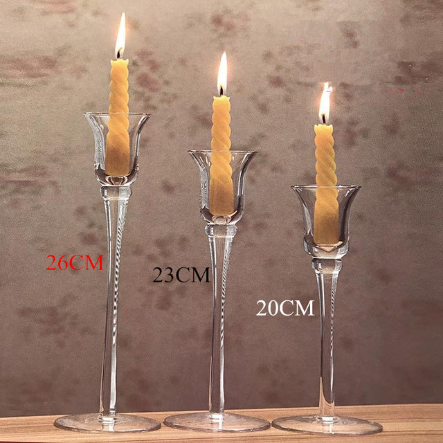 Gifts Actually - Candle Holder - Glass ( Handmade stem glass) - 3 piece