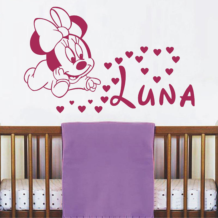 Gifts Actually - Vinyl wall decal / sticker - Baby Minnie Mouse- Personalised