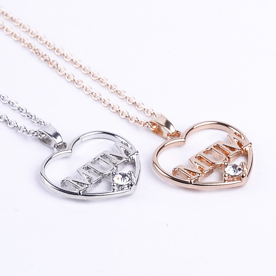 "Necklace - Heart with ""MUM"" - Gold or Silver Colour"
