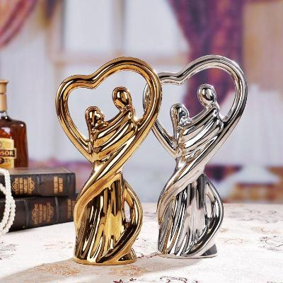 Gifts Actually - Ceramic Lovers Figurine - Gold Finish - Gold & Silver