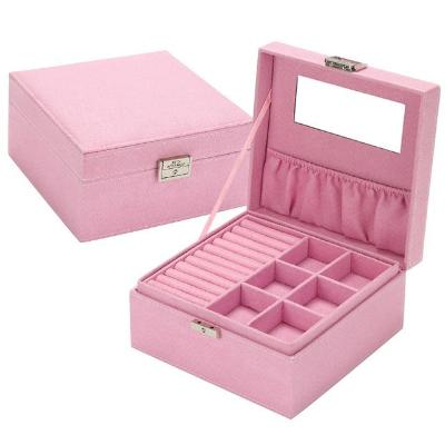 Gifts Actually - Jewellery Box - Velvet - 2 Layers - Pink
