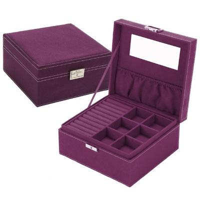 Gifts Actually - Jewellery Box - Velvet - 2 Layers - Purple