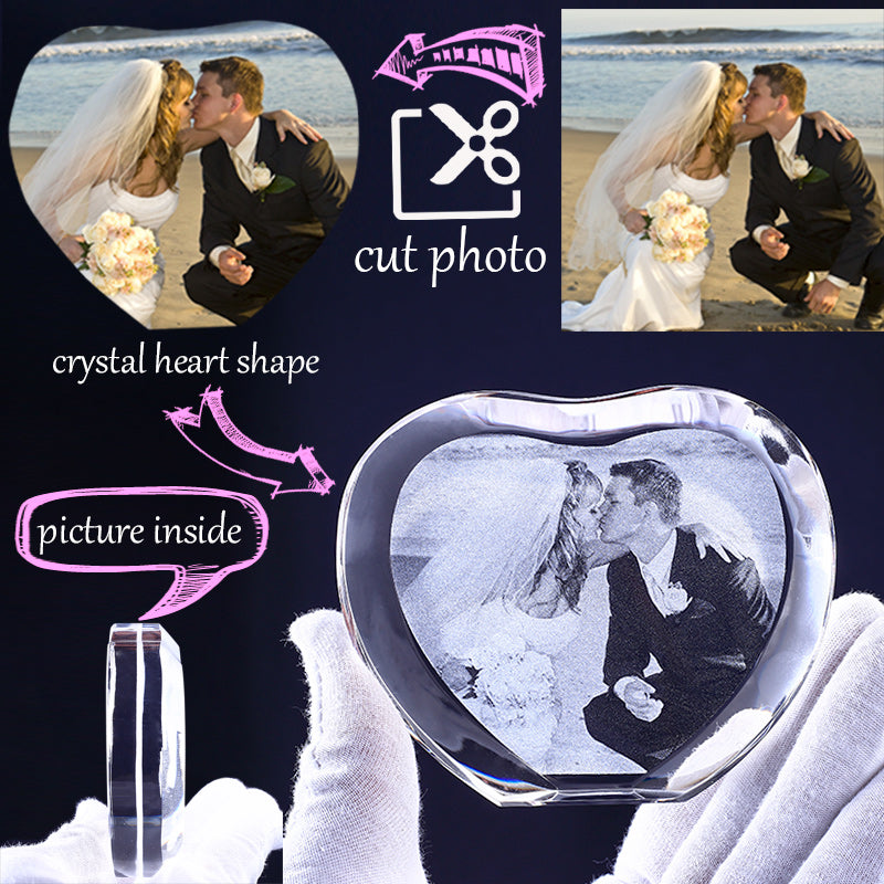 Gifts Actually - Personalised Digital Image Crystal Photo Frame - Heart Shape - Wedding image