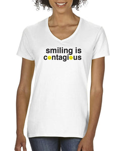 Smiling Is Contagious Womens Tee T-Shirts