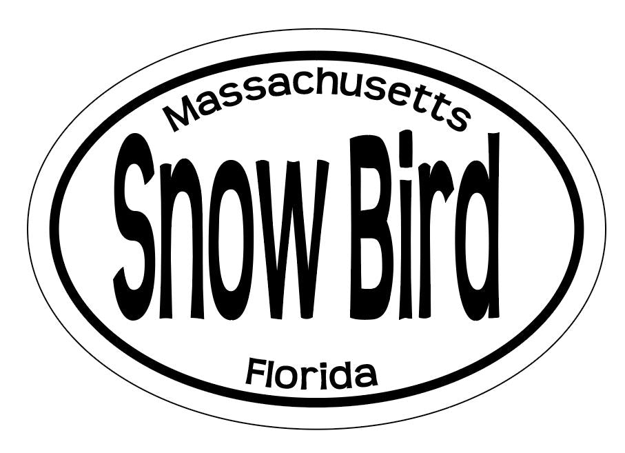 Snow Bird Massachussets Florida Oval Vinyl Sticker Stickers & Decals