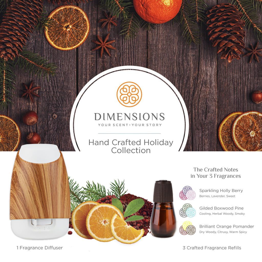 hand crafted holiday diffuser with refill and scents in white bamboo