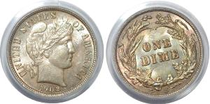 【PCGS MS63】アメリカ 米連邦準備制度理事会 10セント 1ダイム硬貨 1908年