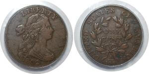 【PCGS VF30】アメリカ合衆国 米連邦準備制度理事会 2セント銅貨 1802年 美品