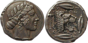 tetradrachm 460-450 BC Ancient Greece Sicily Leontini