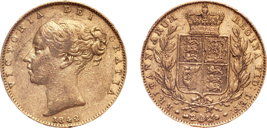 GB Victoria 1842 Sovereign unbarred A