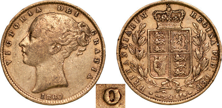 GB Victoria 1860 Sovereign OoverC