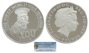 2014 First World War Outbreak Kitchener £100 Platinum