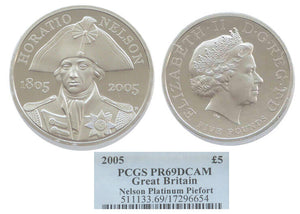 GB Horatio Nelson Piefort 5pound Platinum 2005