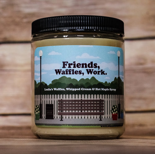 Friends, Waffles, Work, Leslie Knope, Parks & Recreation Inspired Soy Candles