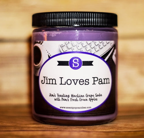 Jim Loves Pam, Jim Halpert, Pam Beesly, The Office Inspired Soy Candle