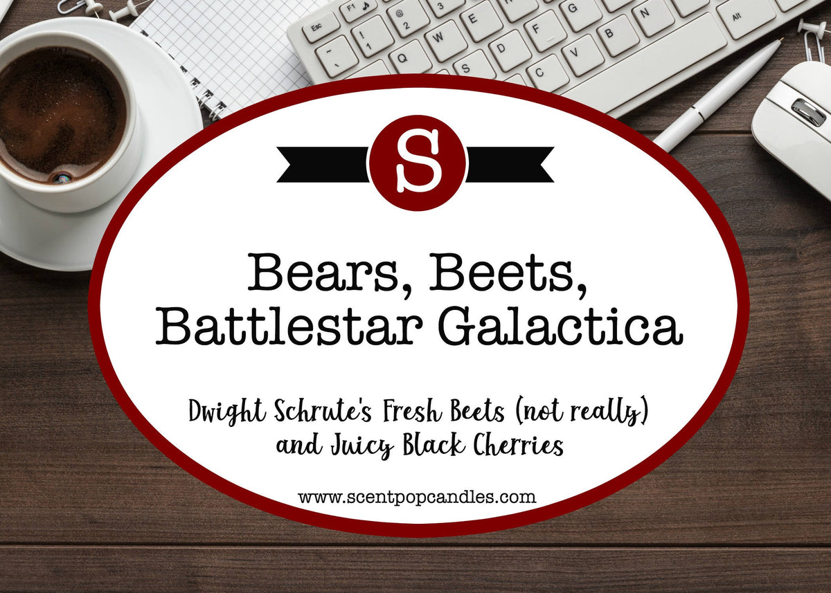 Bears, Beets, Battlestar Galactica, Jim Halpert, Dwight Schrute, The Office Inspired Soy Candle