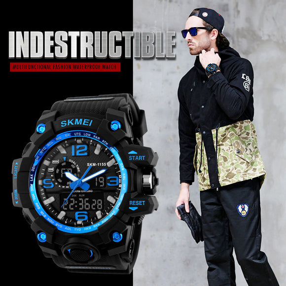 aaaeef7a0b2 2018 New Men Sports Watches Big Dial Quartz Digital Watch For Men Luxury  Brand LED Military