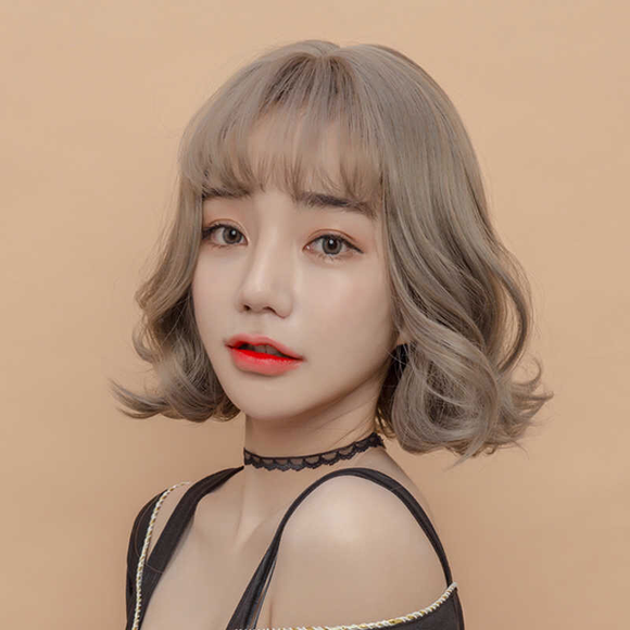 38c4161c9ce Human Hair Wigs with Bangs Wave Wig for Women Short Bob Wigs tb728