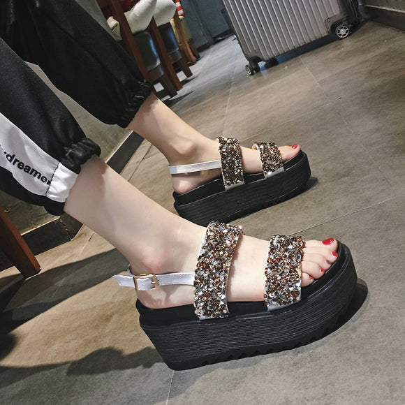 4fa2a65d0ce 2018 new Korean version of the muffin thick-soled versatile rhinestone  sandals women