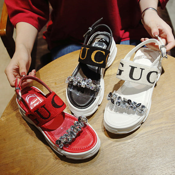 baa43a5824d 2018 new Korean version of chic student fashion wild transparent Roman shoes