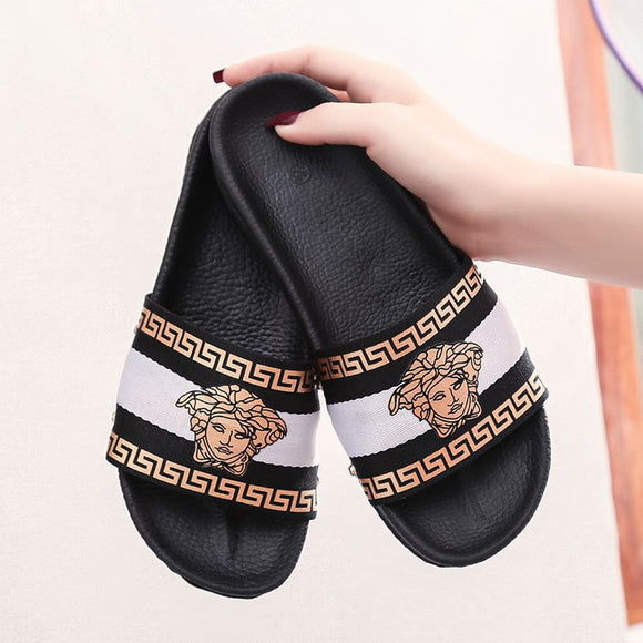 4c40f558234 Plus Size Women Summer Flat Shoes PU Soft Bottom Platform Slippers Woman  Beach Slippers Embroider Flip