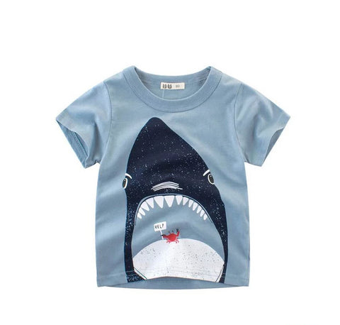 Unisex Animal Shark Print Short Sleeve T Shirt