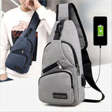 Unisex Cross Body Shoulder Bag with USB Charging