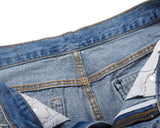 Young Men's Tattered, Torn and Patched Denim Shorts