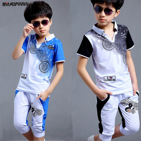 Boys Fashion Motorcycle Print Two Piece Set