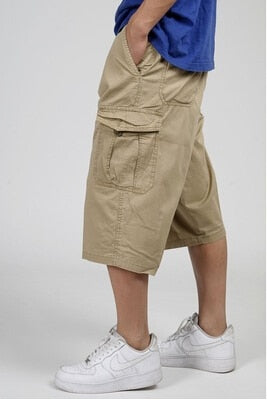 Young Mens Baggy Cargo Calf Length Shorts