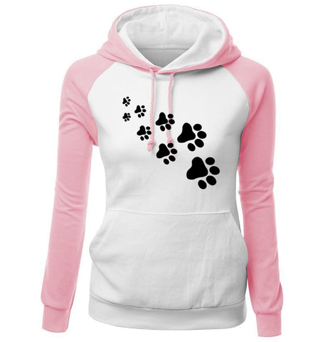 Junior's My Pet Walks All Over Me Paw Print Hoodie