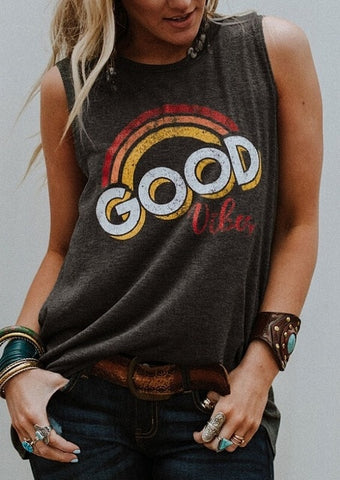 Ladies Good Vibes Vintage Style Tank Top